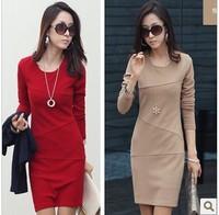 Free Shipping 2014 Autumn Women Dress Women Clothing Korean OL Slim bottoming  Dress Large Size Long-sleeve Autumn women Dress