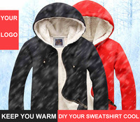 Free shipping DIY zipper winter thickened sweatshirts for man woman warm winter coat hoodies black red color