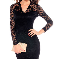 Fashion street women's long-sleeve V-neck lace decoration pencil slim beauty care 2725 one-piece dress