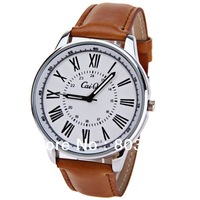 CaiQi 588-2 Unisex Watch 12 Roman Numbers Hour Marks with Round Dial Leather Watchband wristwatch Christmas gift