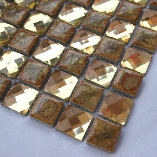 Diamante espelho de ouro mosaico de vidro da telha de vidro cozinha telha cerâmica B7PC-2005(China (Mainland))
