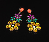 A fashion accessories alloy gem women's flower stud earring earrings accessories