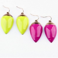 Min Order $18(Can Mix Item)Fashion New Fluorescent color Leaf Drop Earrings Pink Yellow Color