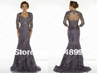 Mother Of The Bride Dresses Bateau 3 4 Long Sleeves Bolero Elegent Applique Lace Mermaid Vintage Evening Dresses
