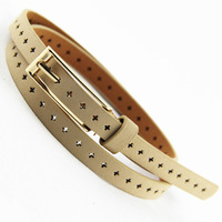 Candy color long needle agings thin all-match women's cutout Belt waist decoration pigskin Belt Free Shipping