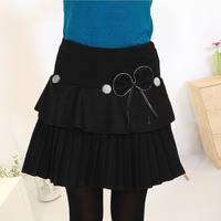 2014 autumn and winter plus size bust skirt woolen skirt pleated skirt women's layered dress short skirt preppy style basic