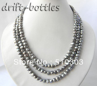 3Strands 18'' 6mm Gray Baroque Freshwater Pearl Silver Necklace