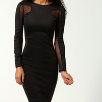 Sexy White / Black Lily Mesh Exposed Top Side Bodycon Dress Long Sleeve Party Wedding Gown Bandage