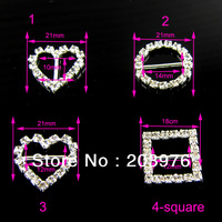 Rhinestone buckle, Mix design order accept, 100pcs/lot,full of crystal fit wedding ribbon and hair jewelry