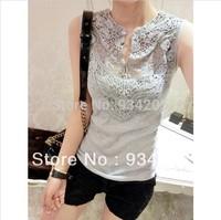 Women's summer 2014 sleeveless chiffon lace patchwork basic shirt slim crochet tank t shirt tops Free shipping