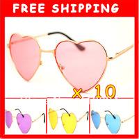 Hot Sale Lots Of 10 Fashion Cute Fancy DRESS Heart Sunglasses GLASSES UV 400 Pink Blue Rose Yellow 4 Colors U Pick