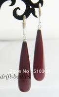 40mmx10mm red teardrop shell dangle Earrings 925