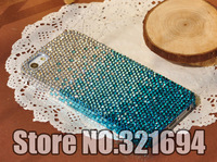 Wholesale 15Pcs Handmade Gradient Color Swarovski Element Crystal Back Cover Case For iPhone 4 4S 5 5S 5C Free Shipping