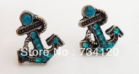 ES121 Min.order is $10(mix order) Vintage retro blue rinestone Ship Anchor Earrings studs Free shipping