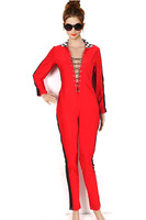 Free Shipping Rompers Womens Jumpsuits New Fashion 2013 Novelty V Neck Bandage Sexy Party Clubwear Red Bodycon Jumpsuit Bodysuit