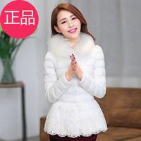 2013 winter lace decoration wadded jacket female short design slim fashion cotton-padded jacket thick outerwear white