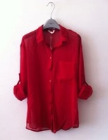 New women's large size loose long-sleeved chiffon shirt big pocket perspective, can chock shirt