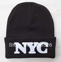 Free shipping 12pcs/lot NYC Black white grey  Beanies   NYC Hats  black fashion  Beanie  Christmas beanie