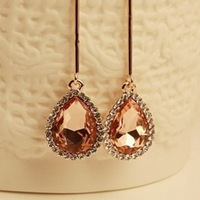 elegant rhinestone dangle earrings lot wholesle new fashion gold plated drop earrings for women girls free shipping