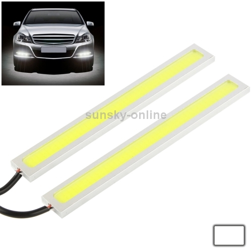 2 x 6W DIY White LED Daytime Running Light DRL Lamp Length 17cm Silver(China (Mainland))