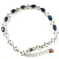 S925 pure silver natural sapphire bracelet 3 platier anti-allergy