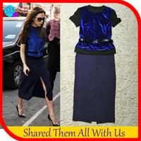2014 Limited Promotion Lantern Sleeve Black Women's Velour Bule Casual 2 Piece Set Celebrity Victoria Beckham Dress with Belt