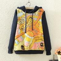 E767 women's cartoon rabbit patchwork print with a hood fleece sweatshirt  Cartoon