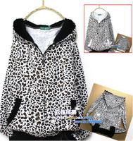 Autumn cardigan leopard print mm women's long-sleeve loose plus size outerwear women zipper hoody  Cartoon print loose