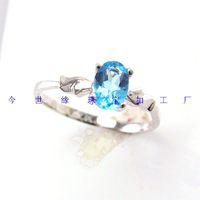 925 silver platinum natural topaz stone ring brief natural aquamarine