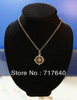Handmade fashion charm bronze compass pendant chain necklace Jewelry , 6Pcs/lot!, Min Order $10.0,Free Shipping