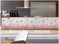 Free shipping PVC Sticker living room bedroom colorful flowers and butterfly decorative sticker -DIY Wall Stickers