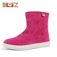 The new waterproof leather boots in winter to keep warm cotton shoes short tube male ladies boots. Free shipping