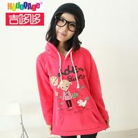 2914 new women long sleeve length fleece with a hood pullover sweatshirt outerwear girls  Cartoon pullover