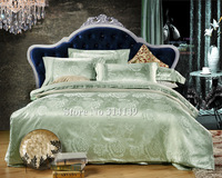 Free Shipping,romantic jade green flower floral 4pcs Queen/Full/King jacquard satin bed linens duvet quilt covers bedding sets
