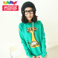 2014 new  women all-match casual o-neck long-sleeve fleece pullover sweatshirt zoo  Cartoon
