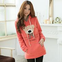 2014 casual slim thickening fleece outerwear medium-long plus size sweatshirt women's s8129  Cartoon