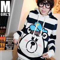 Gal bear stripe with a hood lamb's sweatshirt long-sleeve sweatshirt t-shirt women's wcc9  Cartoon