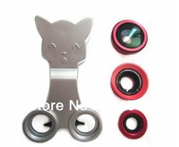 free shipping Universal Clip 3 in 1 Catlens Wide Angle+ Macro lens +180 Fish Eye camera Kit Set Cat lens for iphone Samsung HTC