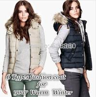 New Fashion womens' detachable Faux fur collar Hooded vest coat casual slim warm waistcoat outwear brand designer tops
