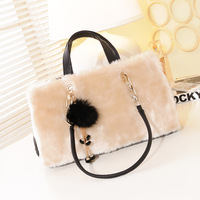 New 2013 hot fashion women leather handbags winter rabbit fur bags portable purse one shoulder vintage plaid messenger bag totes