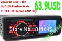 12V 1 Din Car mp4 mp5 Player Stereo Vedio FM transmitter Car Audio Radio 2014 New 7' HD Retractable Screen Support rear camera