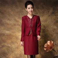 Fashion plus size clothing twinset three quarter sleeve career  tailored skirt set