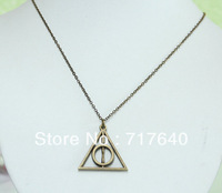 Fashion Charm Antique bronze Deathly Hallows Chain Necklace Trendy , 6Pcs/lot!, Min Order $10.0,Free Shipping