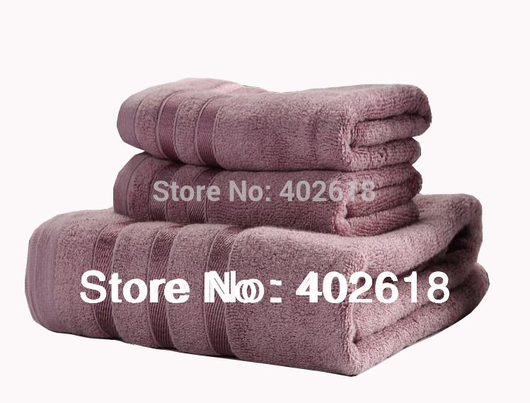(3PCS/Lot) Towel Set, Including(2PC*35x75CM/ 1PC*140x70CM), Bamboo towel Set, Terry & Soft, 3 Colors Purple/Silver/Coffee(China (Mainland))