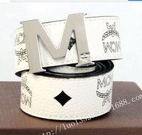 The new leisure belt printing letters M agio belts wholesale fashion, high-grade leisure MC belts wholesale