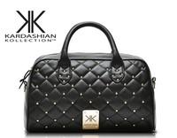 high quality handbags Kardashian kk plaid rivet shoulder bag handbag messenger bag women's handbag work bags  YHZ3344