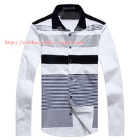 2014 new cotton stripe shirt casual shirt spell,Men casual shirt stripes