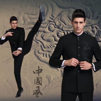 Классические лежа вилочная часть воротник-стойка костюмы бизнес свободного покроя платье китайский дракон костюм приталенный