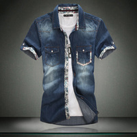 Male water washed denim shirt british style fashion patchwork print short-sleeve shirt plus size available c445