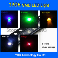 Free Shipping 5valuesx20pcs=100pcs Brand New 1206 LED SMD Ultra Bright Red/Green/Blue/White/Yellow LED Diode Light